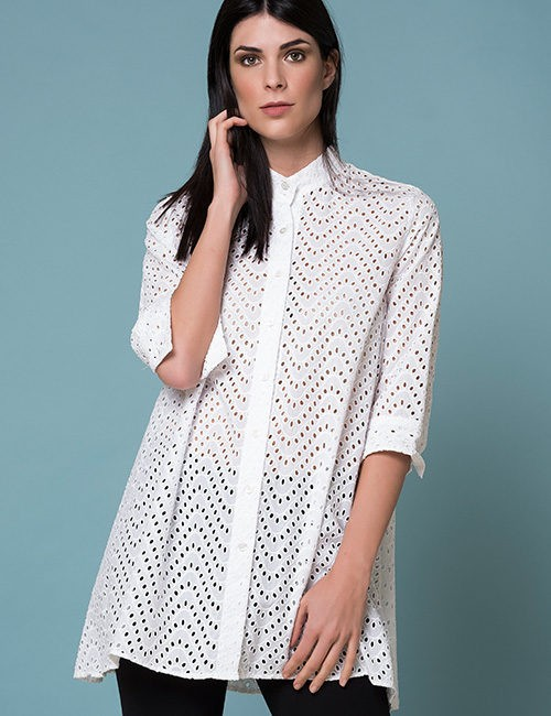 White Eyelet Long Blouse With 3/4 sleeve