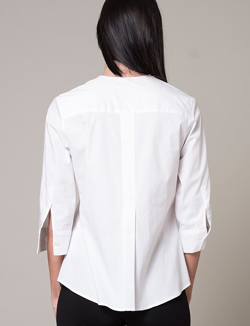 White Pleated Loose Fit Blouse With 3/4 Sleeves - back-view