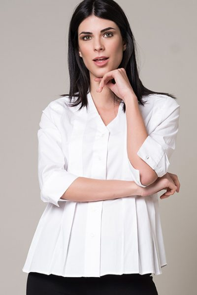 White Pleated Loose Fit Blouse With 3/4 Sleeves