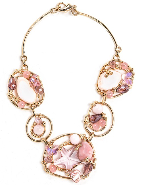 Necklace With Crystals And Semi-Precious Stones In Pink Tones With Gold Metal