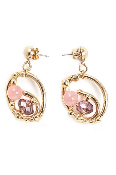 Earrings Of Circles With Crystals And Stones In Pink Tones