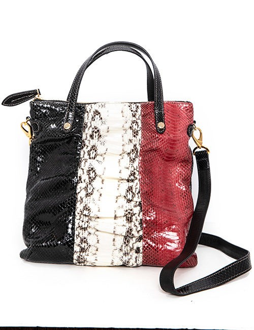 Black, Red and White Python Handbag