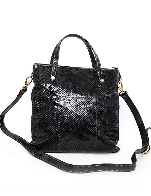 Black, Red and White Python Handbag - Back