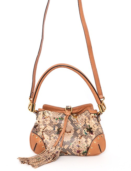 Leather and Python Handbag With Tassels With Detachable Shoulder Strap