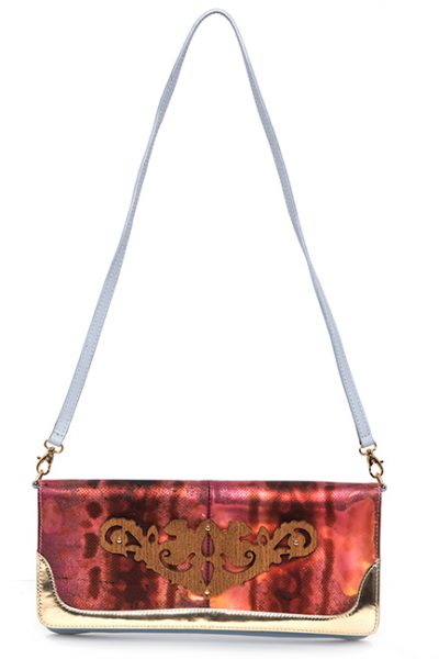 Lt Blue Leather Handbag With Wood Motif On Fuchsia/Multi-Tone Print Front