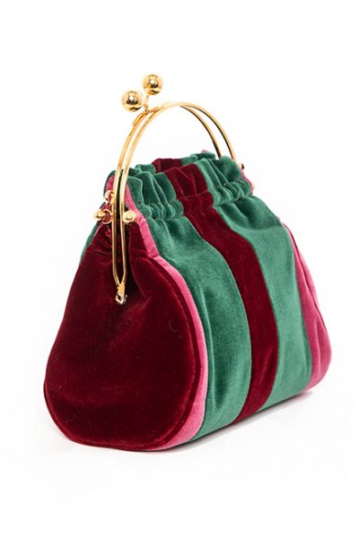 Burgandy, Pink and Emerald Green Velveteen Handbag With Brass Handle