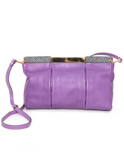 Purple Pleated Handbag With Fabric and Brass Trim