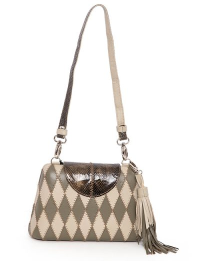 Diamond Pattern Leather Handbag With Python Accent - Muted Olive, Cream, Brown