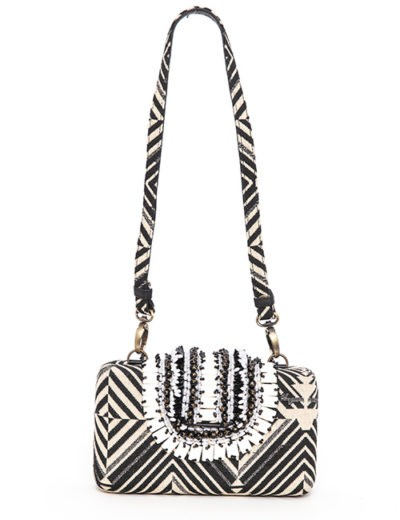 Small Black And Cream Woven Handbag With Black/White Beaded Top