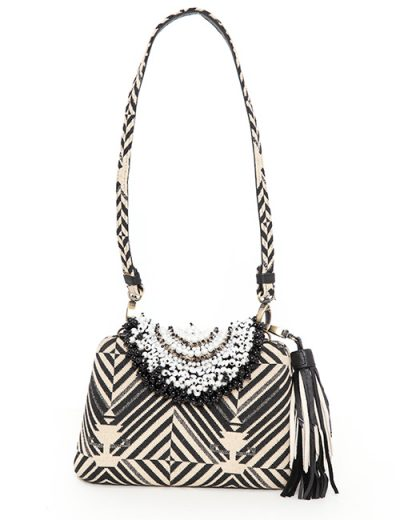 Black And Cream Woven Handbag With Beaded Top - Small