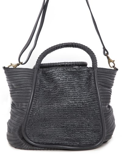 Leather Handbag With Intricate Ribbed And Linear Stitching - Clutch Or Shoulder Handles