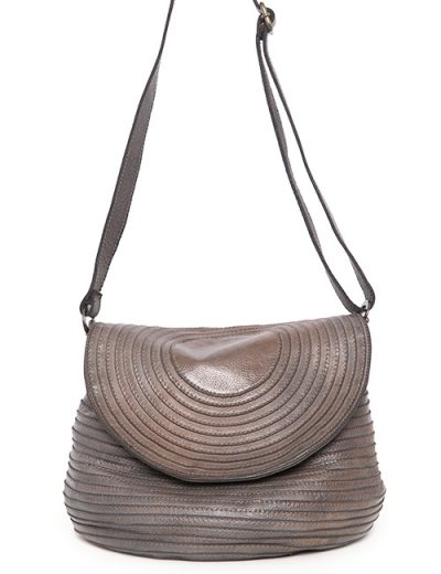 Leather Handbag With Circular Stitch Detail And Shoulder Strap