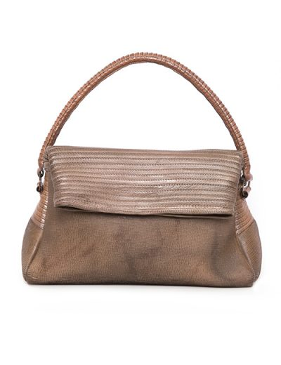 Handbag With Decorative Stitching In Mushroom Color