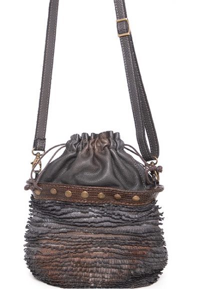 Bucket Shape Leather Handbag With Stitched Fringed Strips -Shoulder-Handles