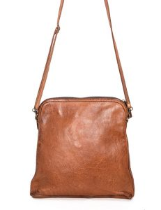 Rectangular Leather Handbag With Linear Stitch Detail And Shoulder Strap