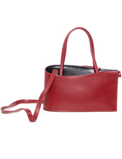 Red Leather Asymmetrical Style Handbag With Two Handle Options