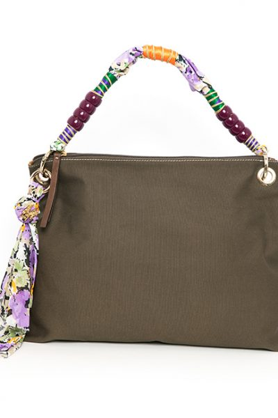 Brown/olive Fabric Handbag With Beaded Handle