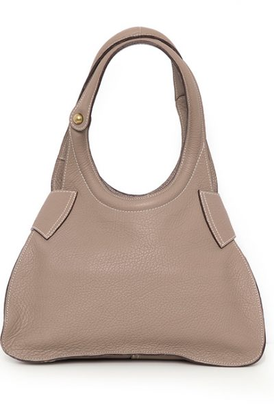 Grained Calf Leather Handbag With Chain Link Detail