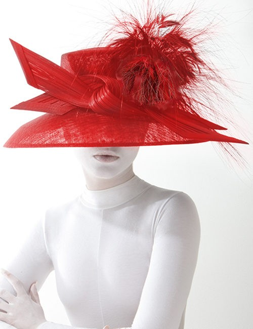 252aff15b3635 Couture Asymmetrical Fascinator Hat Accented With Fan Shape In ...