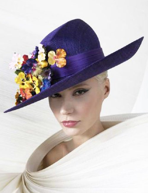 9ef6709436f22 Purple Wide Brim Couture Hat with Multi-color Floral Cluster by Philip  Treacy