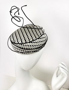 Black and White Small Fascinator Style Hat