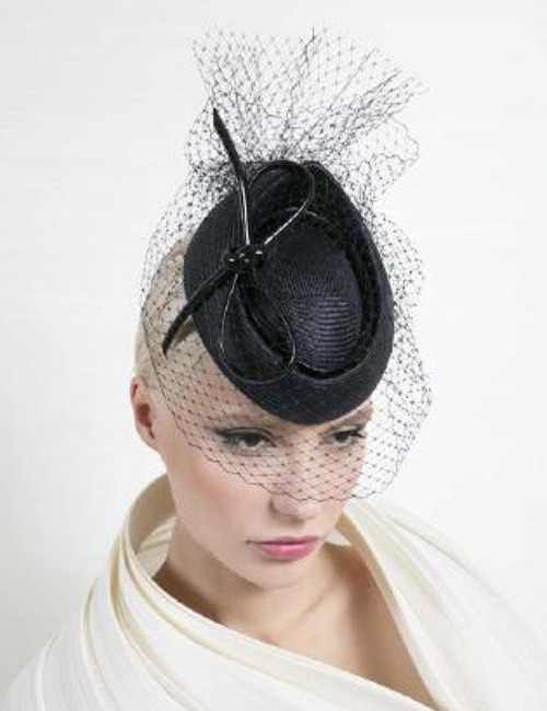 9d09f4a9 Black Couture Fascinator Hat With Veil by Philip Treacy – Marilyn's