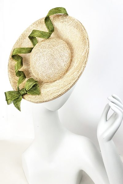 Beige Fascinator With Olive Green Embellishment