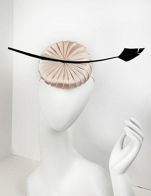 Small Pleated Fascinator Hat - Blush Color With Black Accent
