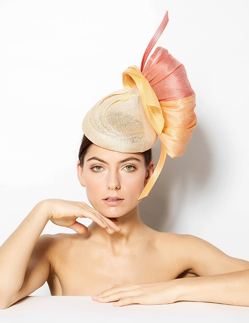 Beige Fascinator With Gold And Soft Orange Embellishments