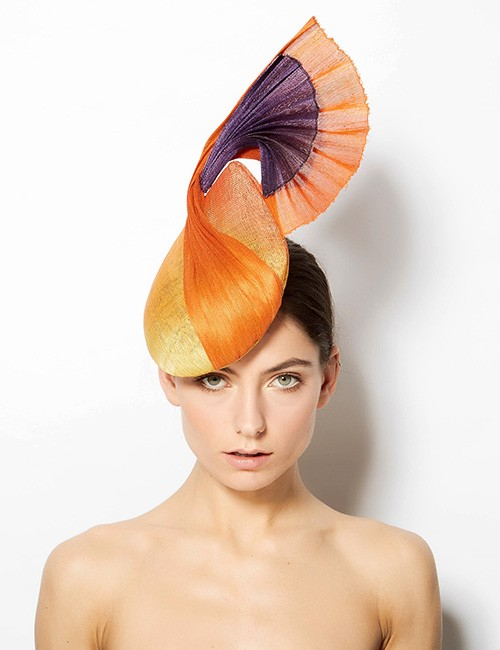 Couture Asymmetrical Fascinator Hat Accented With Fan Shape In Orange and Purple