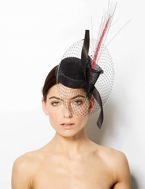 Black Couture Fascinator - Pill Box Shape With Stiff Circular Netting
