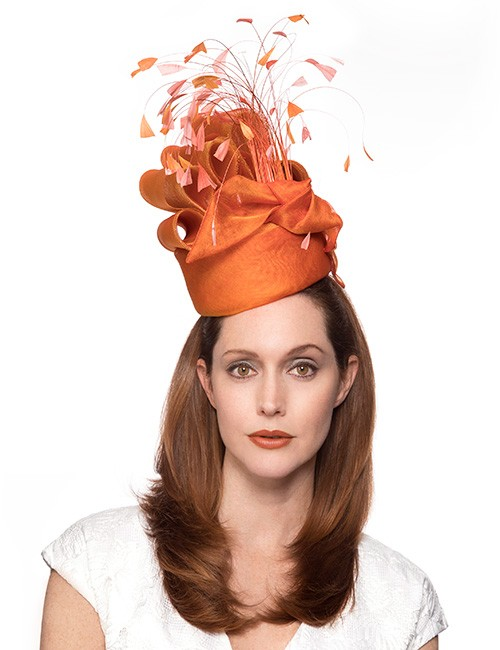 Orange Whimsical Style Fascinator Hat