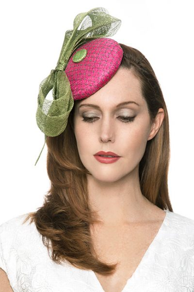 Fuchsia and Green Fascinator Hat