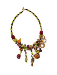 Necklace-Classic France Style Glass Red/Green/Gold