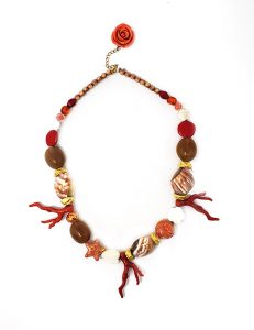 Necklace-Classic France Style Glass Red/White/Gold
