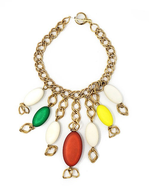 Necklace France designed chain and resin gold /mix color resin drops