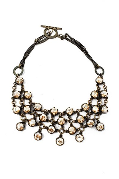 Necklace French Vintage designed brass chain with Gold Swarovski Crystal, crystal/brass