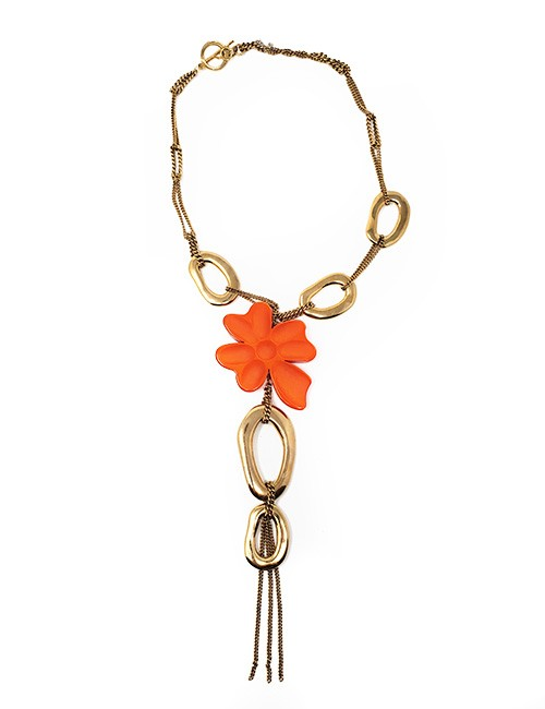 Necklace French Long contemporary designed chain and etched resin gold /orange