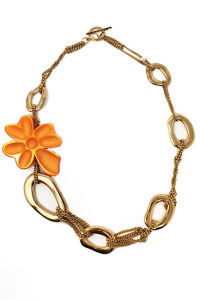 Necklace French contemporary designed chain and etched resin gold /orange