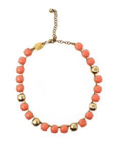 Necklace French contemporary designed resin style bead set with resin gold beads for accent pink coral/gold
