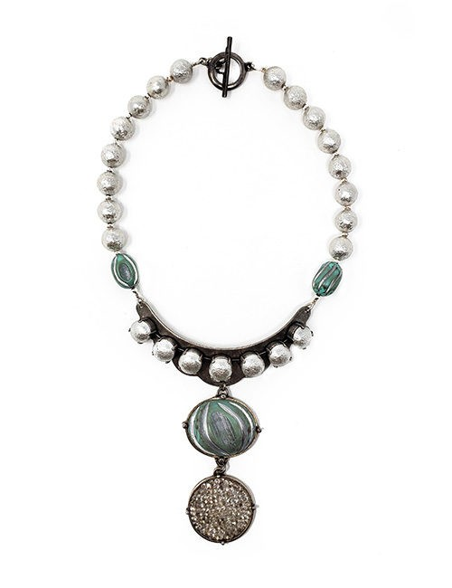 Necklace French vintage design with etched resin and crystal pendant with silver resin pearl chain. Silver/teal