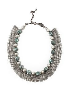 Necklace French contemporary resin etched beads with silver chains Silver/Teal