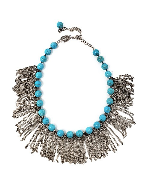 Necklace French contemporary turquoise breaded with silver chains Silver/Turquoise