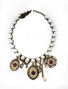 Necklace French vintage designed pressed enameled drops and resin pearl chain white/brass