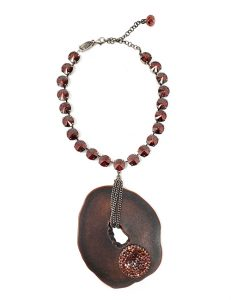 Necklace French contemporary designed Swarovski Crystals and artistic resin pendant red