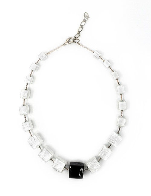 Necklace-Murano Glass Bead white/black