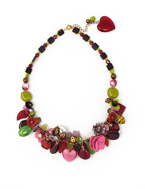 Necklace-Classic France Style Glass Red/Green/Pink