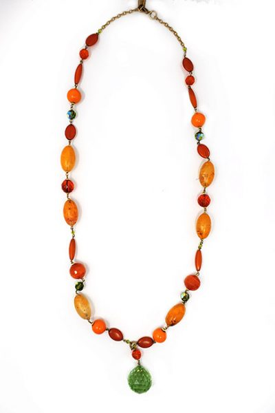 Necklace-Classic fashion long beaded necklace orange/green