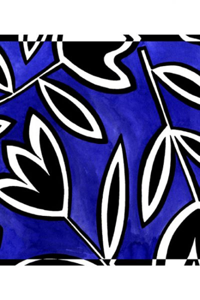 Scarf- Abstract Tulips- BW on Blue Background