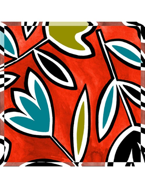 Scarf- Abstract Tulips- BW/Turquoise on Blue Background